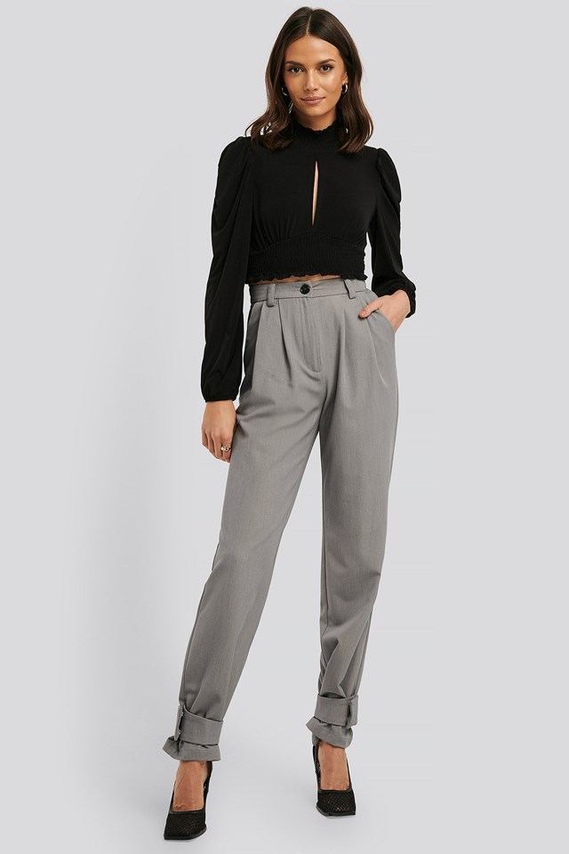 High Neck Smock Detailed Top Outfit