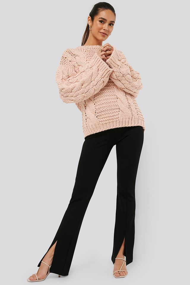 Front Slit Jersey Pants Outfit