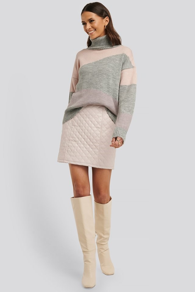 Split Colour Chunky Polo Sweater Outfit