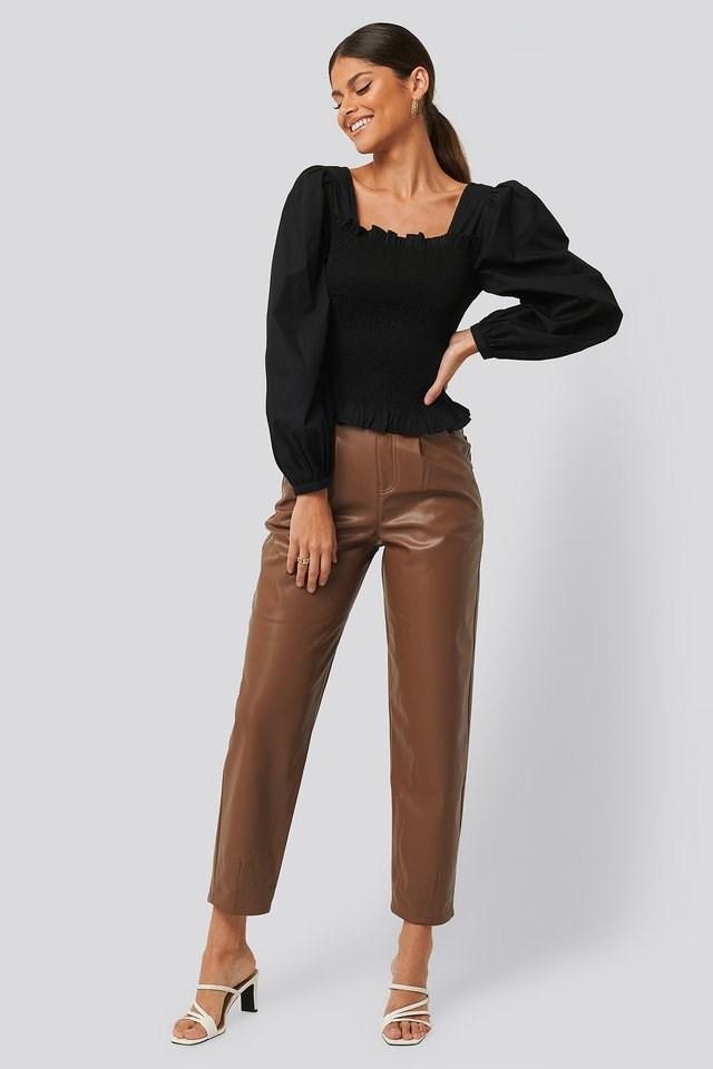 Faux Leather Ballon Leg Pants