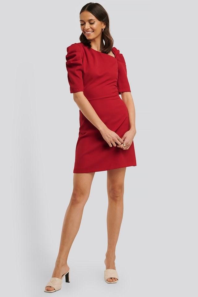 Asymmetric Neck Mini Dress