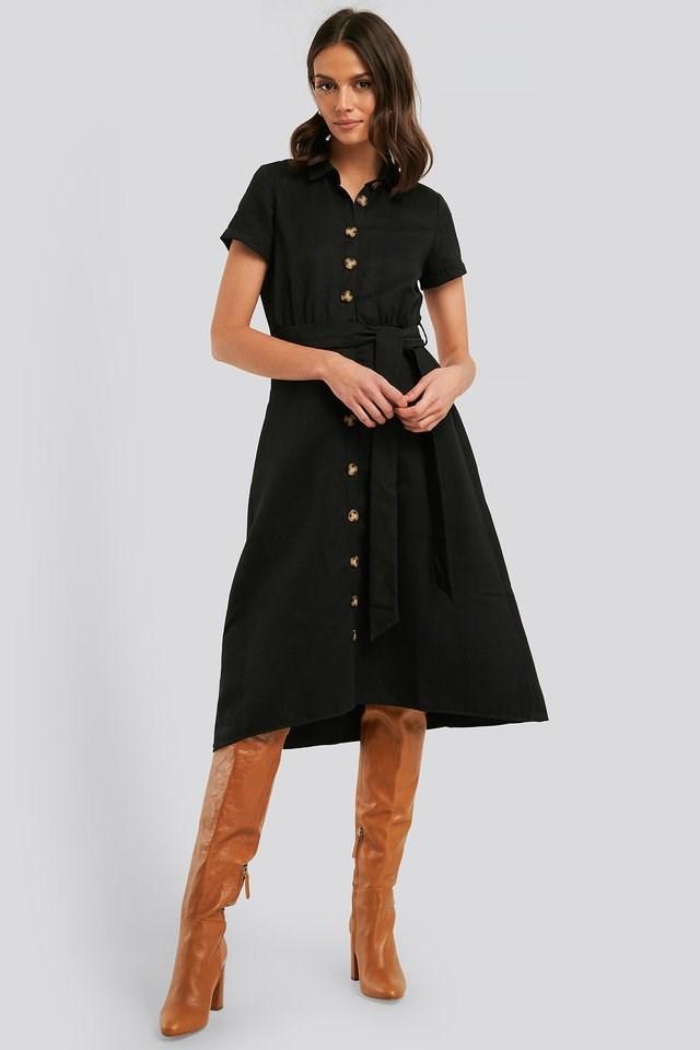 Button Detailed Belt Midi Dress