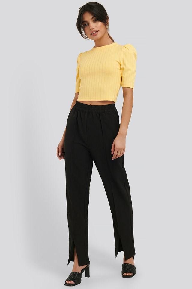 Elastic Waist Front Slit Pants