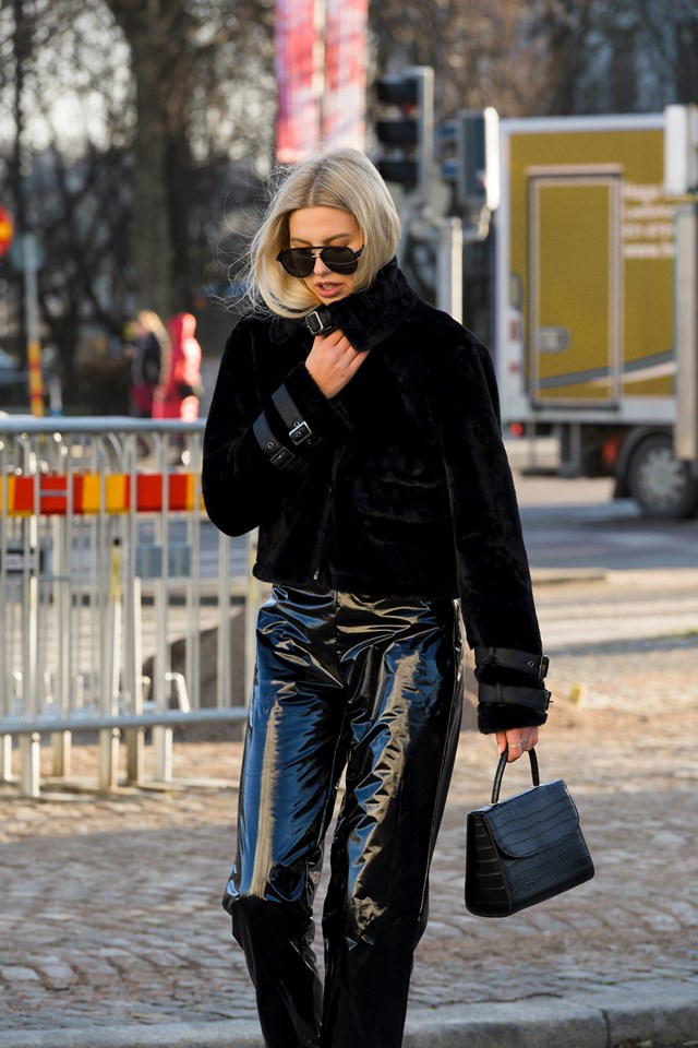 Faux Fur Cropped Jacket Outfit NYFW