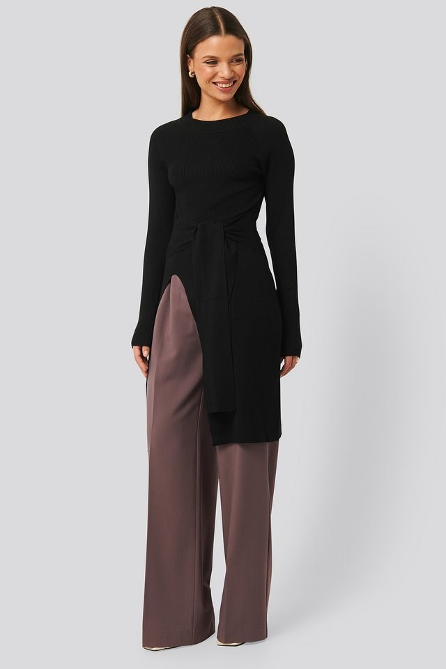 Tie Front Ribbed Sweater