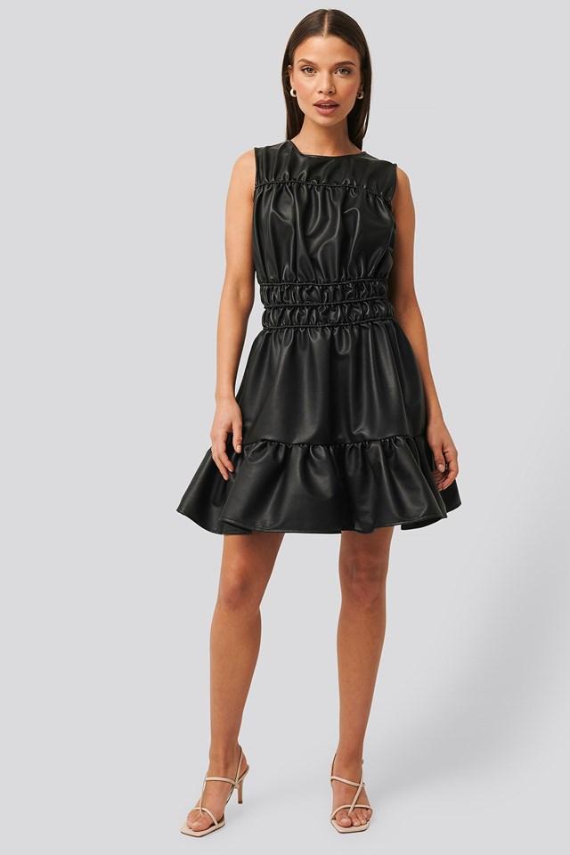 Shirred PU Dress Outfit