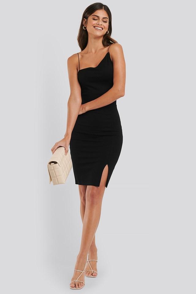 Asymmetric Strap Short Dress Outfit