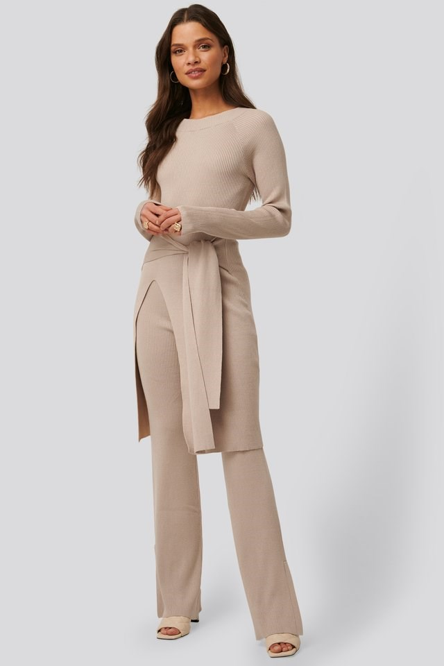 Ribbed Slit Pants Outfit