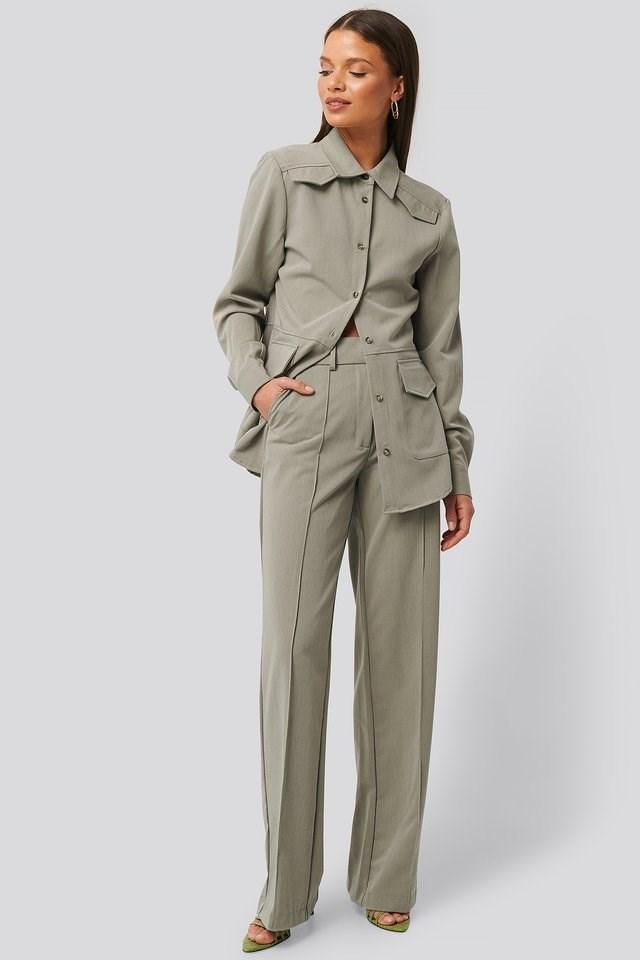 Back Slit Suit Pants Outfit