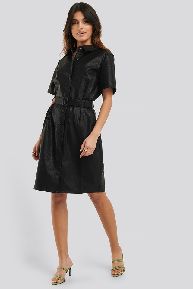 Belted PU Dress Outfit
