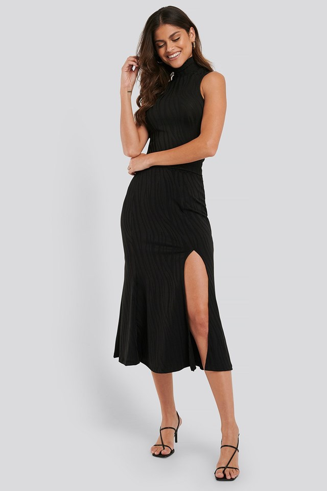Slit Detail Jacquard Knit Skirt
