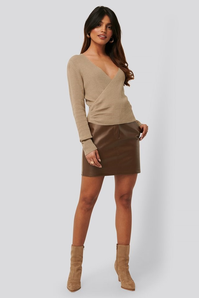 Overlapped Ribbed Knitted Sweater