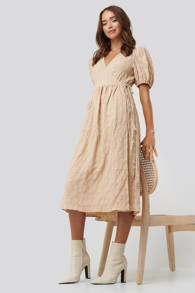 Structured Overlap Midi Dress