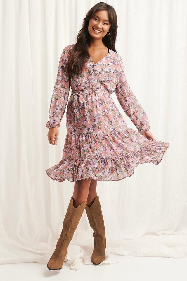 Self-Tie Printed Midi Dress
