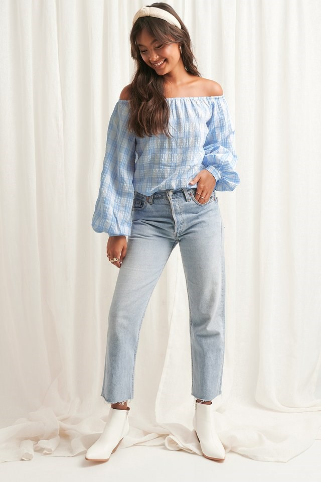 Off Shoulder Structure Check Blouse