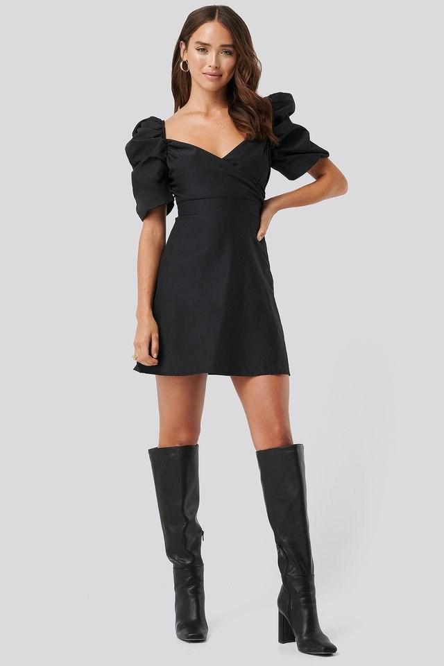 Puff Shoulder A-Line Dress