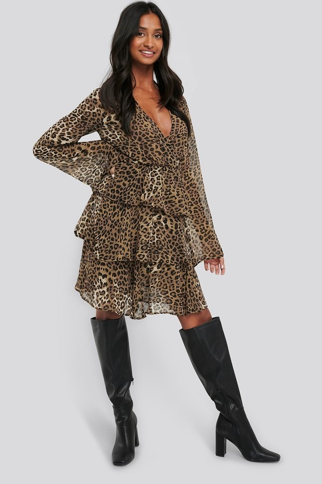 Triple Layer LS Flounce Dress