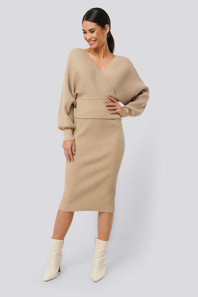 Glittery Ribbed Knitted Skirt