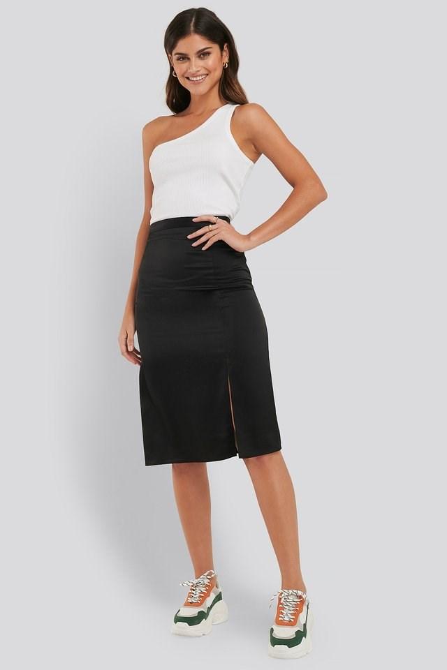 Front Slit Satin Skirt