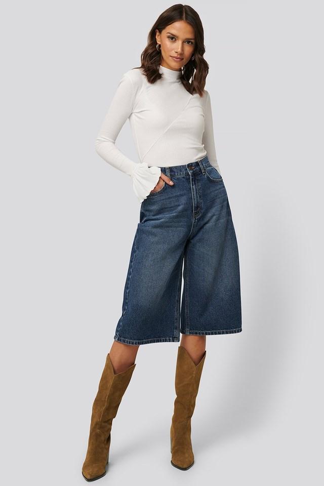 Diagonal Cut Ribbed Top Outfit