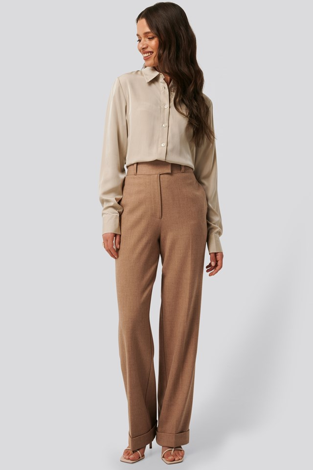 High Waist Folded Suit Pants Outfit
