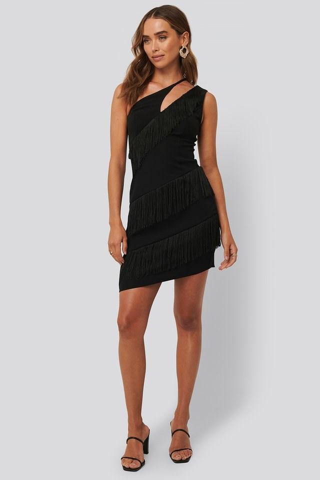 Tassle Detail One Shoulder Dress