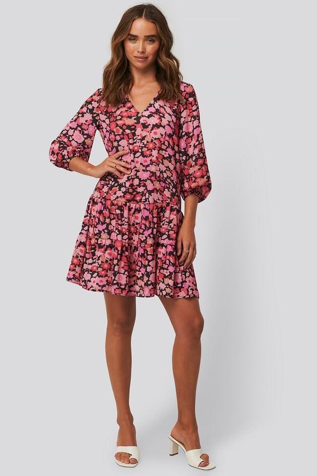 Flower Pattern V-Neck Mini Dress