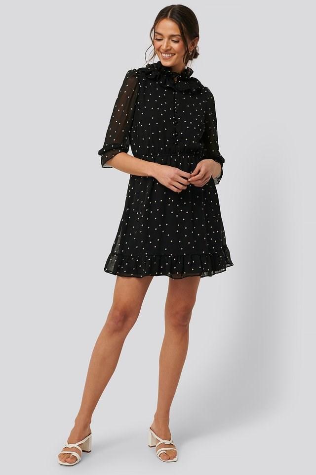 High Neck Polka Dot Mini Dress Outfit