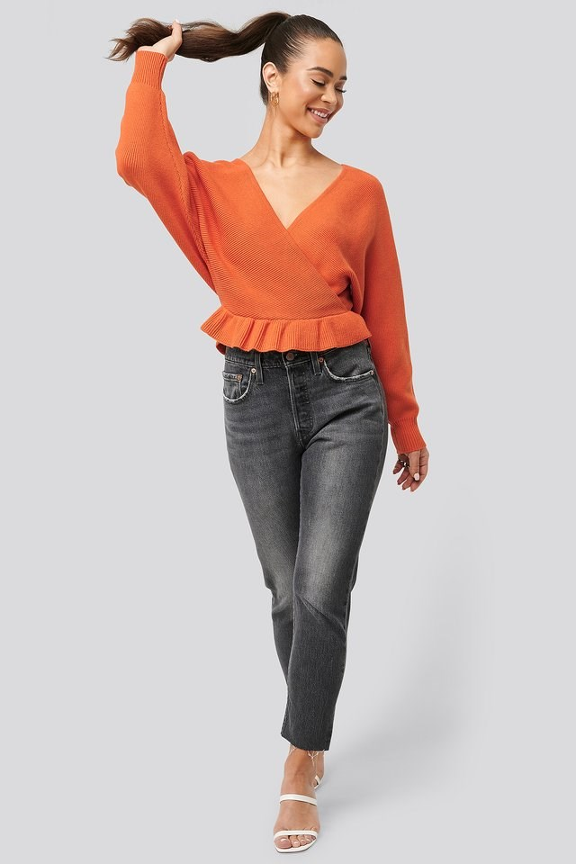 Overlap Flounce Knitted Sweater