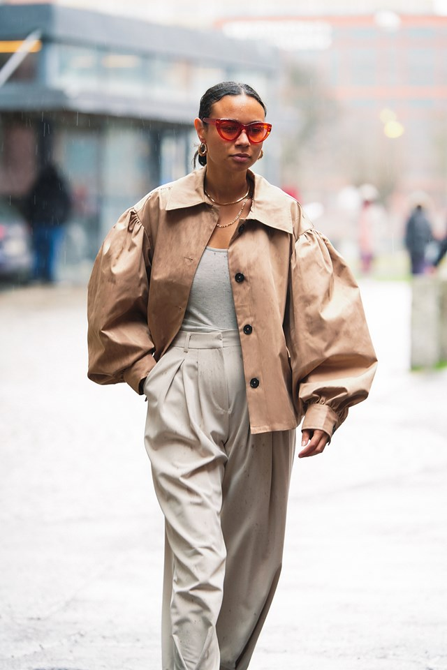 Balloon Sleeve Short Jacket Outfit NYFW