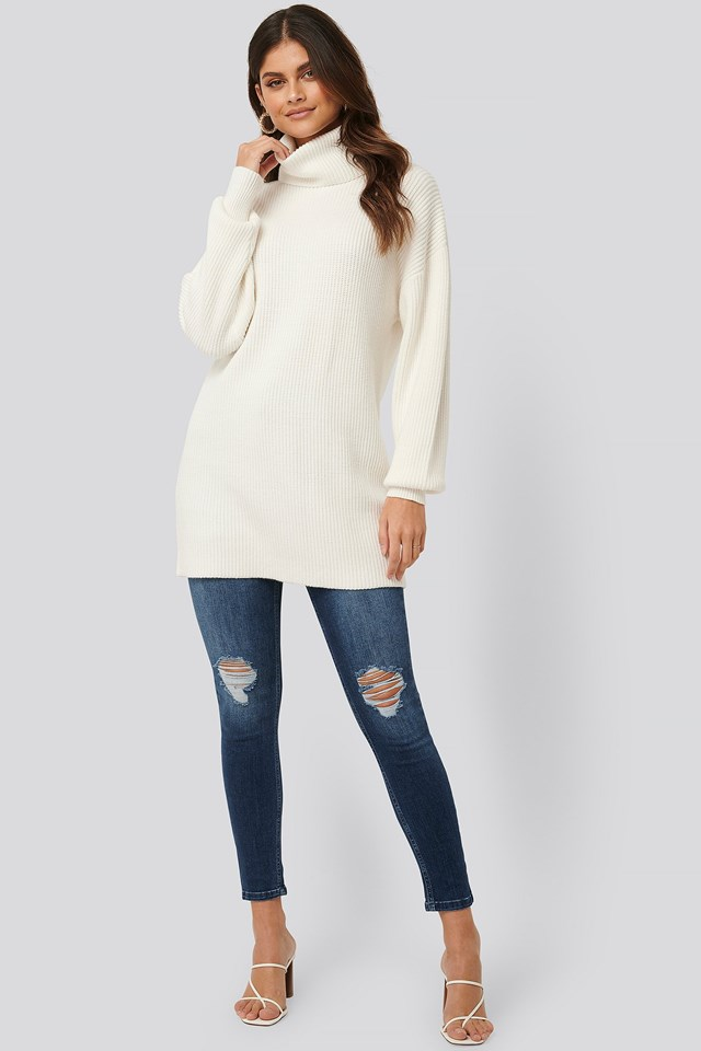 Big Collar Knitted Long Sweater