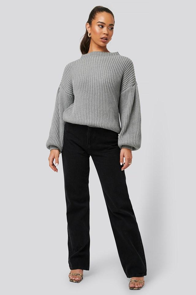 Balloon Sleeve Knitted Sweater