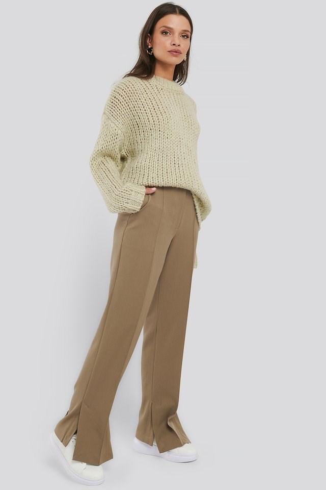 Creased Side Slit Pants