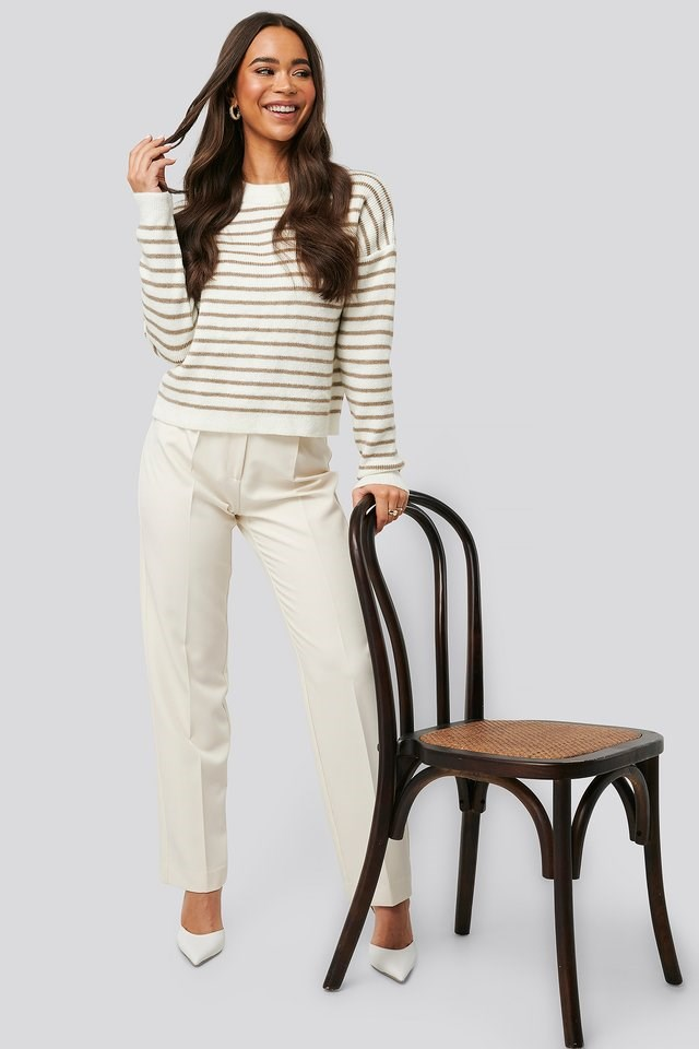 Striped Round Neck Knitted Sweater