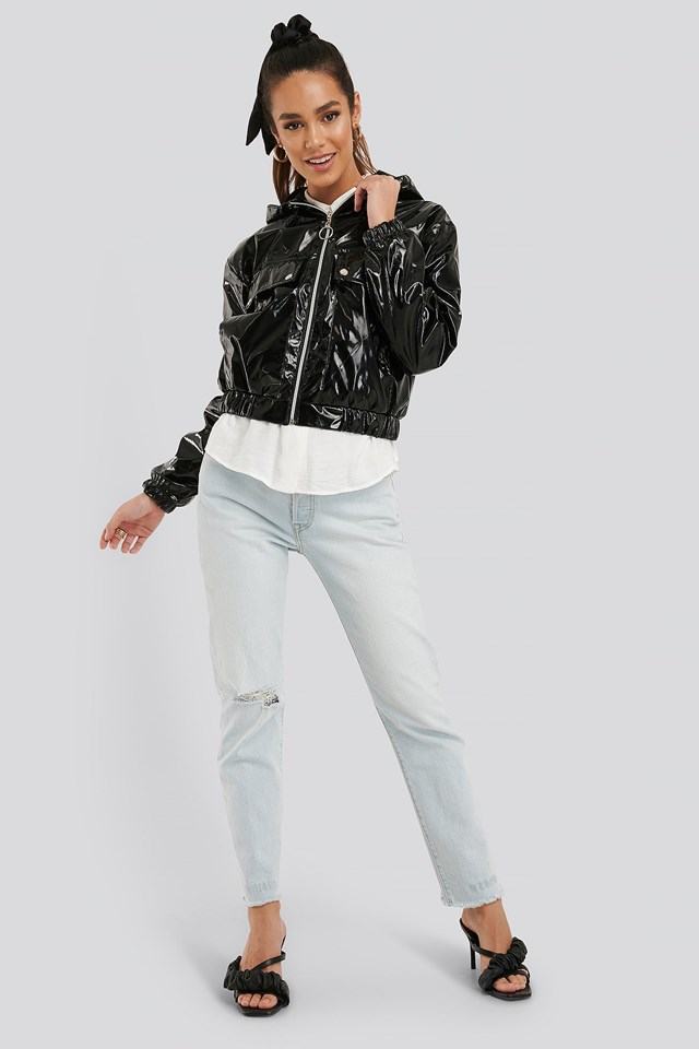 Hooded Zippered Patent Jacket