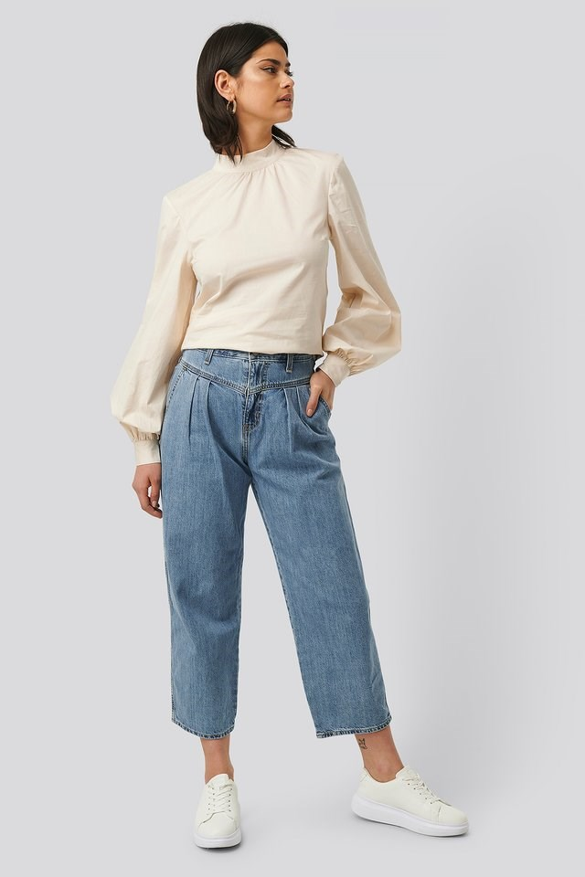 High Neck Cotton Blouse