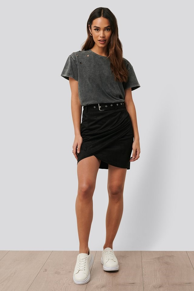 Faux Suede Overlap Mini Skirt
