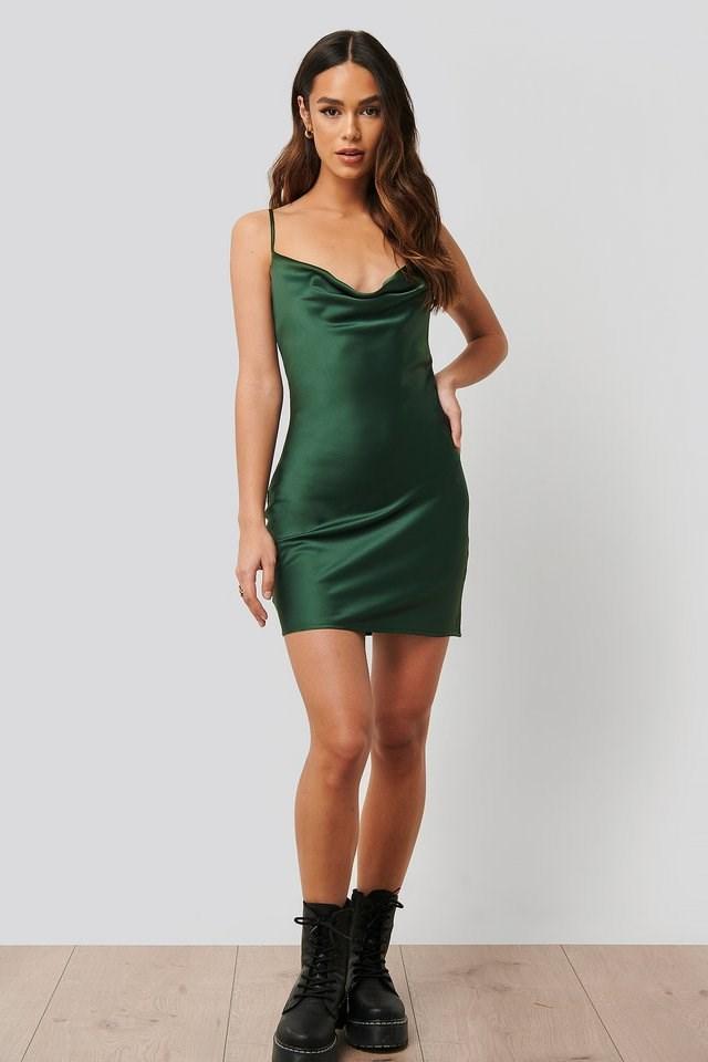 Open Back Satin Mini Dress