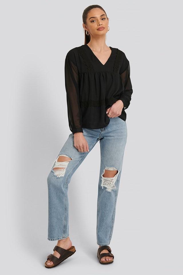 LS Lace Blouse Outfit