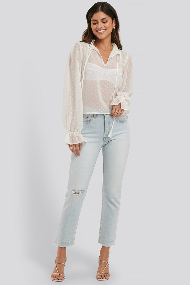 Dobby Frill Neck Blouse Outfit