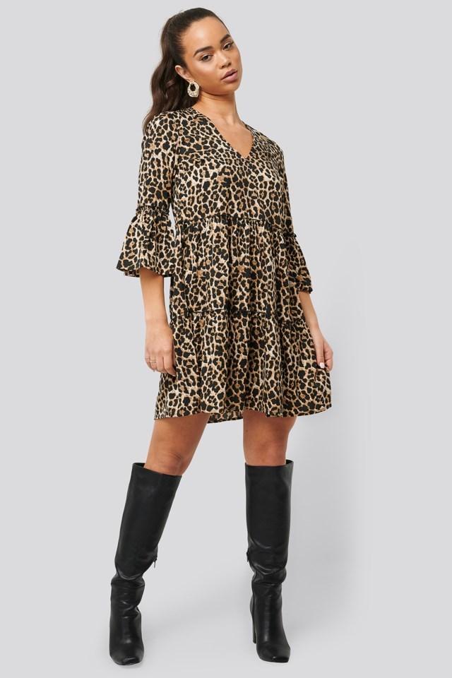 V neck Ruffle Dress