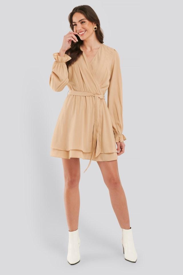 Overlap Draped Mini Dress