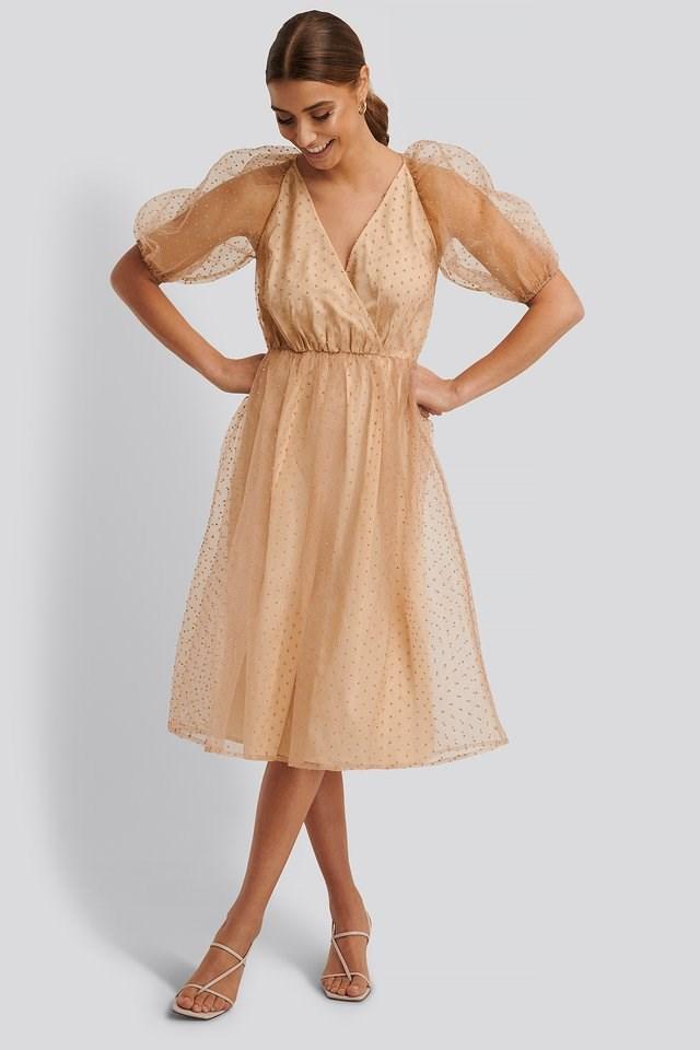 Overlap Dobby Organza Dress