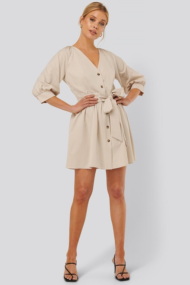 Balloon Sleeve Belted Mini Dress