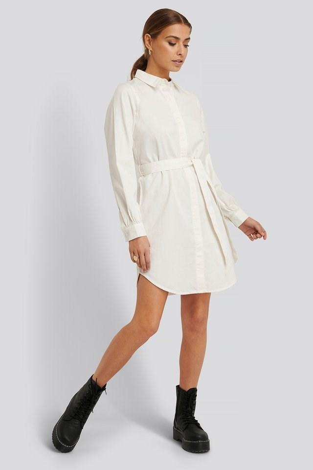 Denim Shirt Belted Dress