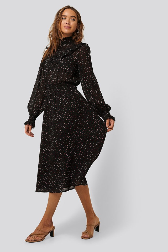 Dotted Frill Detail Dress Outfit