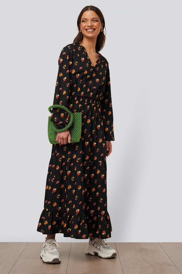 Ruffle Details Flowy Midi Dress