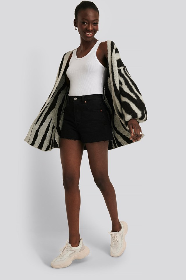 Zebra Printed Oversized Cardigan Outfit