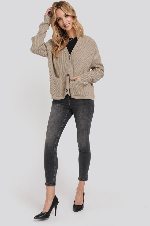 Button Up Boxy Cropped Cardigan