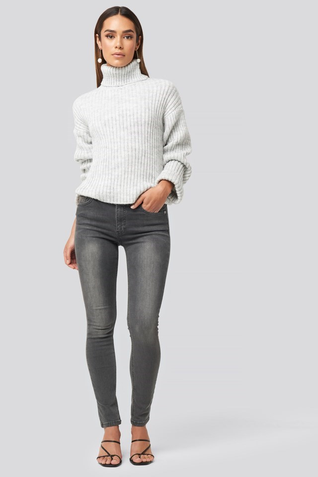 Ribbed Knitted Turtleneck Sweater